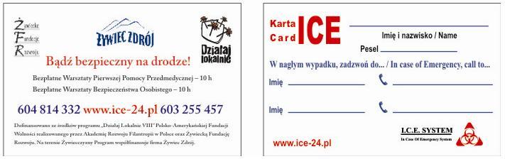 Karta ICE bądź Bezpieczny Na Drodze